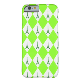 A girly neon green diamond eiffel tower pattern barely there iPhone 6 case