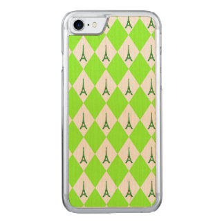 A girly neon green diamond eiffel tower pattern carved iPhone 8/7 case