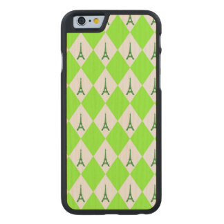 A girly neon green diamond eiffel tower pattern carved maple iPhone 6 case