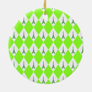 A girly neon green diamond eiffel tower pattern ceramic ornament