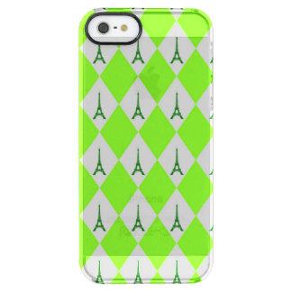 A girly neon green diamond eiffel tower pattern clear iPhone SE/5/5s case