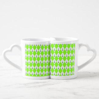 A girly neon green diamond eiffel tower pattern coffee mug set