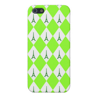 A girly neon green diamond eiffel tower pattern cover for iPhone SE/5/5s