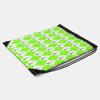 A girly neon green diamond eiffel tower pattern drawstring bag