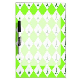 A girly neon green diamond eiffel tower pattern dry erase board