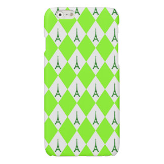 A girly neon green diamond eiffel tower pattern glossy iPhone 6 case