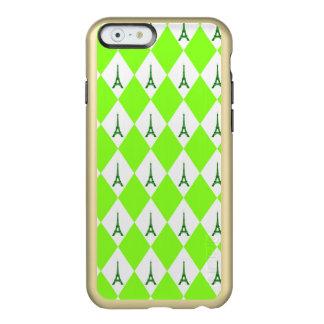 A girly neon green diamond eiffel tower pattern incipio feather shine iPhone 6 case