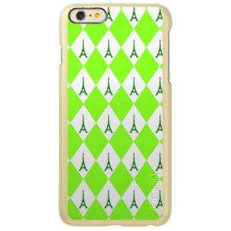 A girly neon green diamond eiffel tower pattern incipio feather shine iPhone 6 plus case
