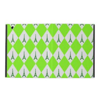 A girly neon green diamond eiffel tower pattern iPad cover
