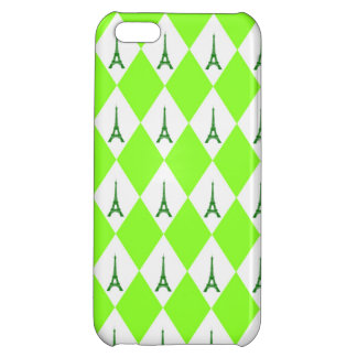 A girly neon green diamond eiffel tower pattern iPhone 5C cover
