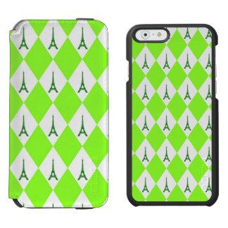 A girly neon green diamond eiffel tower pattern iPhone 6/6s wallet case