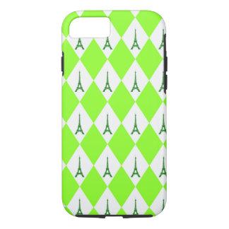 A girly neon green diamond eiffel tower pattern iPhone 8/7 case