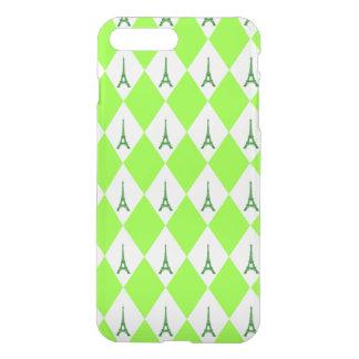 A girly neon green diamond eiffel tower pattern iPhone 8 plus/7 plus case