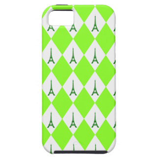 A girly neon green diamond eiffel tower pattern iPhone SE/5/5s case