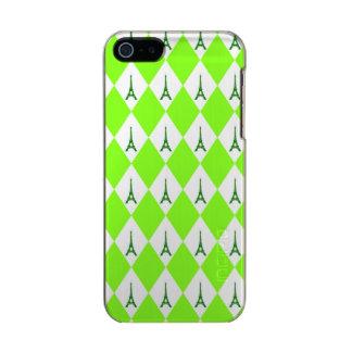 A girly neon green diamond eiffel tower pattern metallic phone case for iPhone SE/5/5s