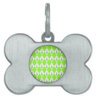 A girly neon green diamond eiffel tower pattern pet tag