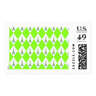 A girly neon green diamond eiffel tower pattern postage