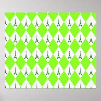 A girly neon green diamond eiffel tower pattern poster