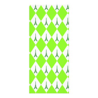 A girly neon green diamond eiffel tower pattern full color rack card