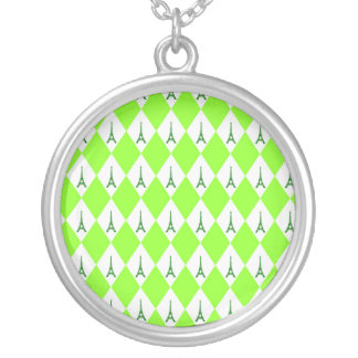 A girly neon green diamond eiffel tower pattern round pendant necklace