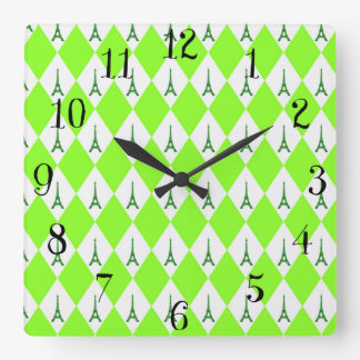A girly neon green diamond eiffel tower pattern square wall clock