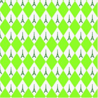 A girly neon green diamond eiffel tower pattern statuette