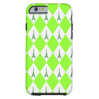 A girly neon green diamond eiffel tower pattern tough iPhone 6 case