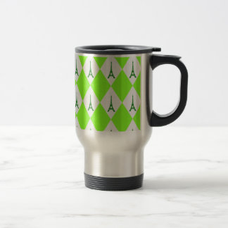 A girly neon green diamond eiffel tower pattern travel mug