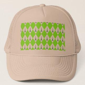 A girly neon green diamond eiffel tower pattern trucker hat