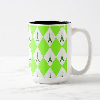 A girly neon green diamond eiffel tower pattern Two-Tone coffee mug