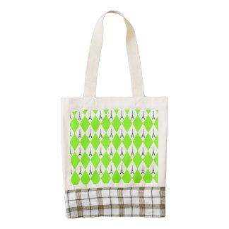 A girly neon green diamond eiffel tower pattern zazzle HEART tote bag