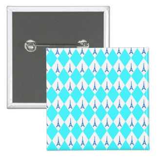 A girly neon teal diamond eiffel tower pattern 2 inch square button