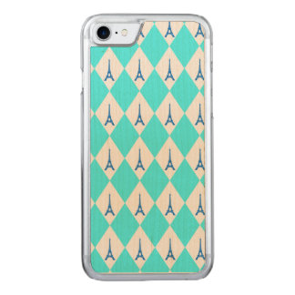 A girly neon teal diamond eiffel tower pattern carved iPhone 8/7 case