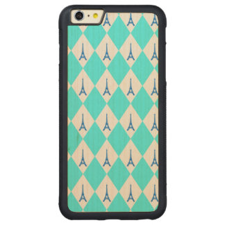 A girly neon teal diamond eiffel tower pattern carved maple iPhone 6 plus bumper case