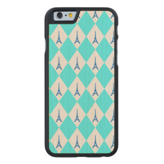 A girly neon teal diamond eiffel tower pattern carved maple iPhone 6 slim case