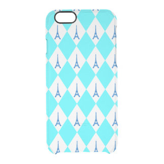 A girly neon teal diamond eiffel tower pattern clear iPhone 6/6S case