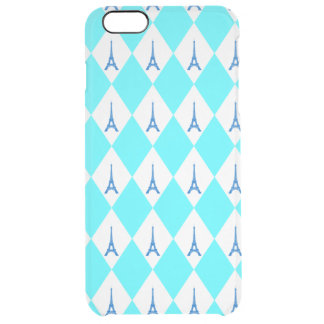 A girly neon teal diamond eiffel tower pattern clear iPhone 6 plus case