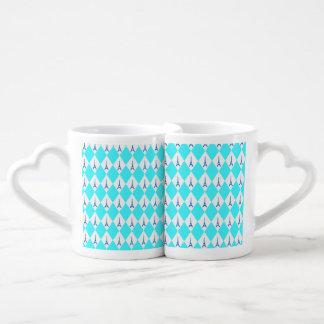 A girly neon teal diamond eiffel tower pattern coffee mug set
