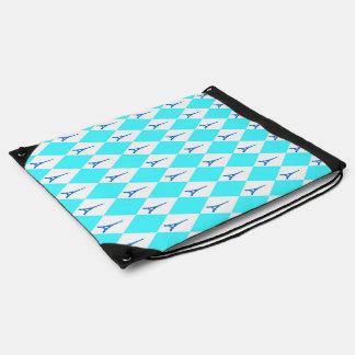 A girly neon teal diamond eiffel tower pattern drawstring bag