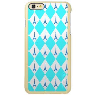 A girly neon teal diamond eiffel tower pattern incipio feather shine iPhone 6 plus case
