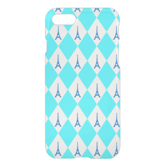 A girly neon teal diamond eiffel tower pattern iPhone 8/7 case