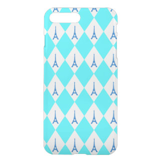 A girly neon teal diamond eiffel tower pattern iPhone 8 plus/7 plus case