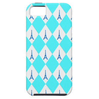 A girly neon teal diamond eiffel tower pattern iPhone SE/5/5s case