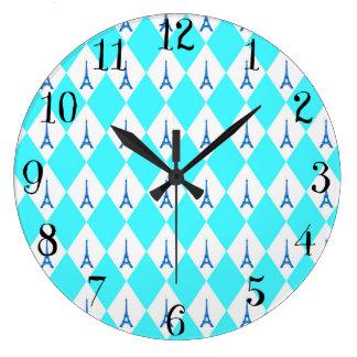 A girly neon teal diamond eiffel tower pattern large clock