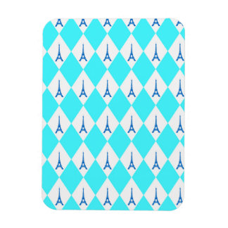 A girly neon teal diamond eiffel tower pattern magnet
