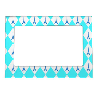 A girly neon teal diamond eiffel tower pattern magnetic picture frame