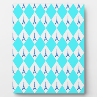A girly neon teal diamond eiffel tower pattern plaque