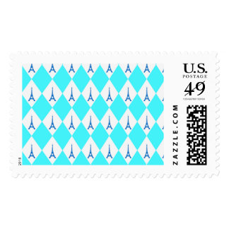 A girly neon teal diamond eiffel tower pattern postage