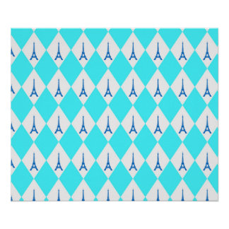 A girly neon teal diamond eiffel tower pattern poster