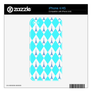 A girly neon teal diamond eiffel tower pattern decal for the iPhone 4S